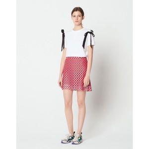 Sandro Vivot Geometric Lace Crochet Red Skirt